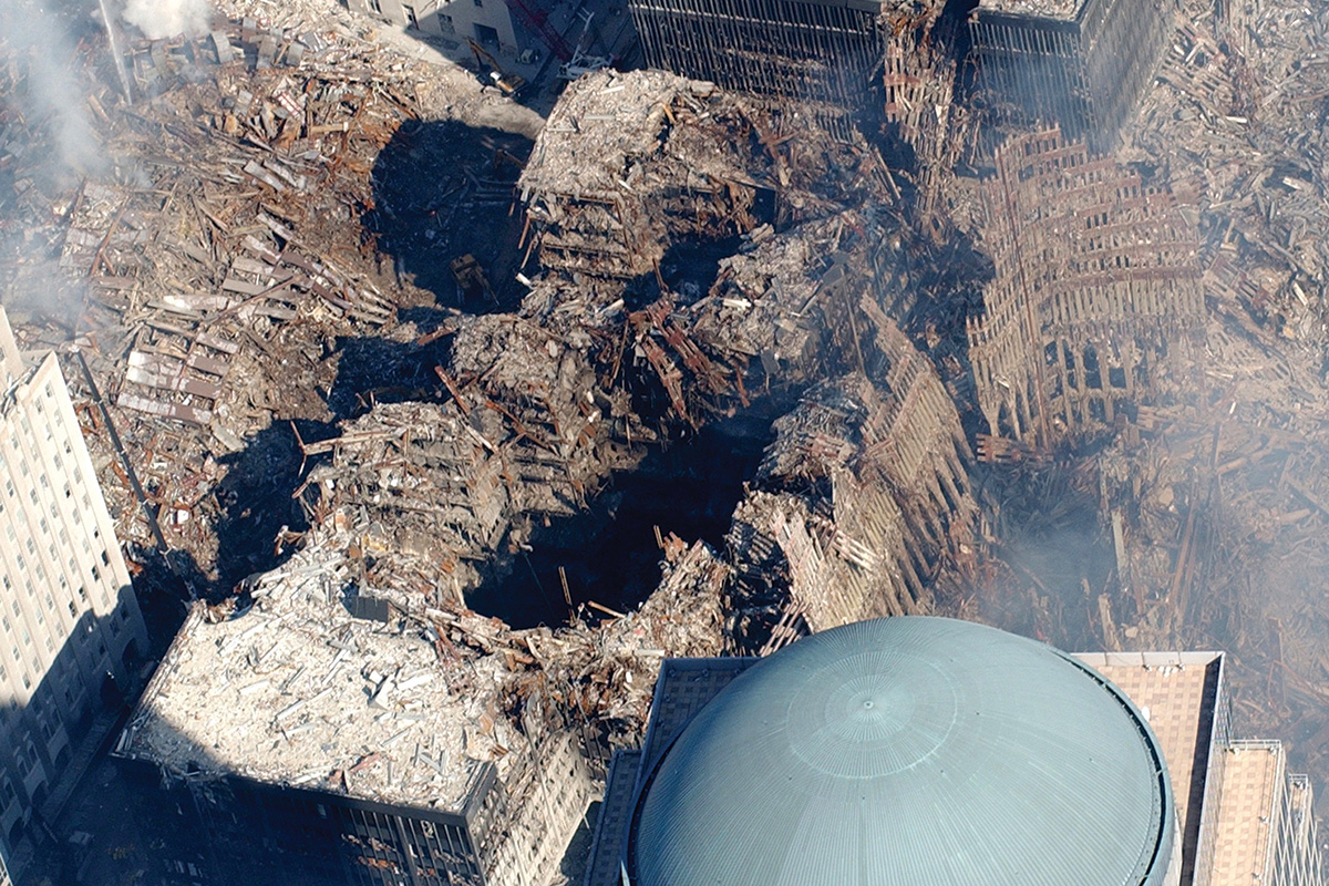 Aerial view of the World Trade Center after the September 11 attack